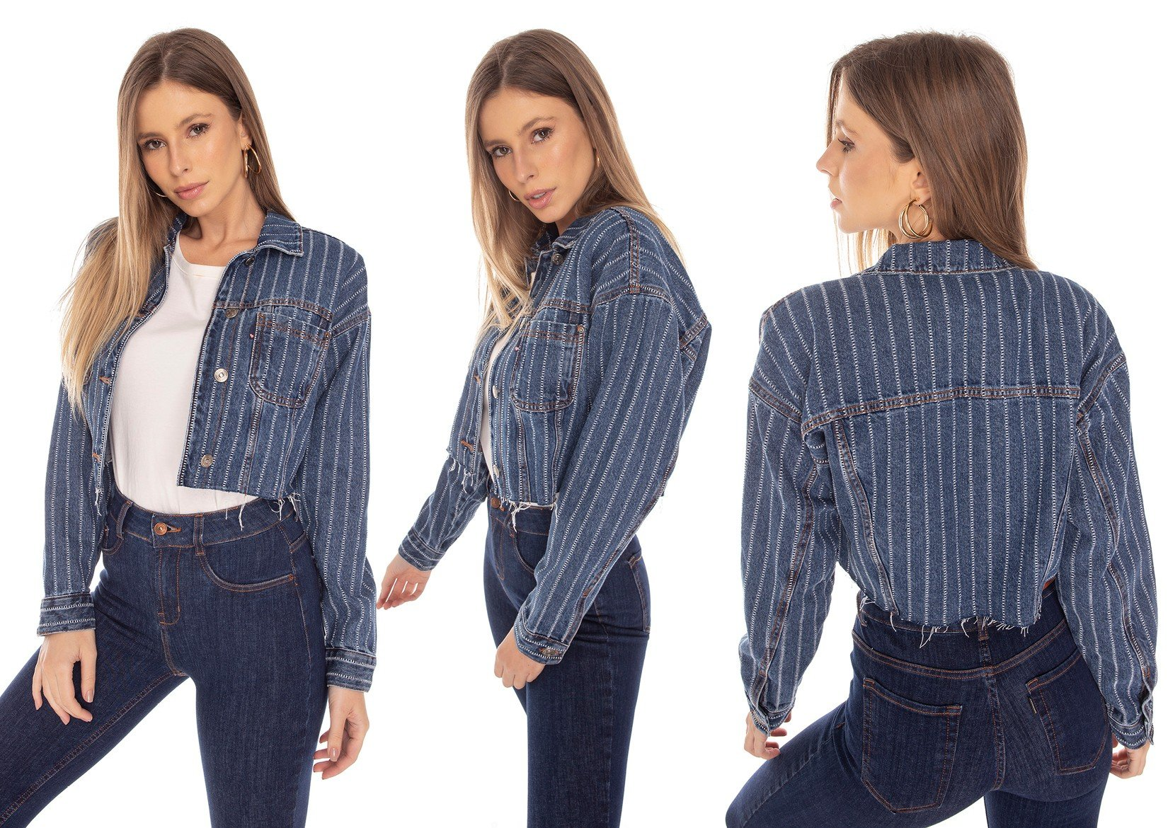 dz9121 jaqueta jeans feminina retro cropped listrada denim zero tripla