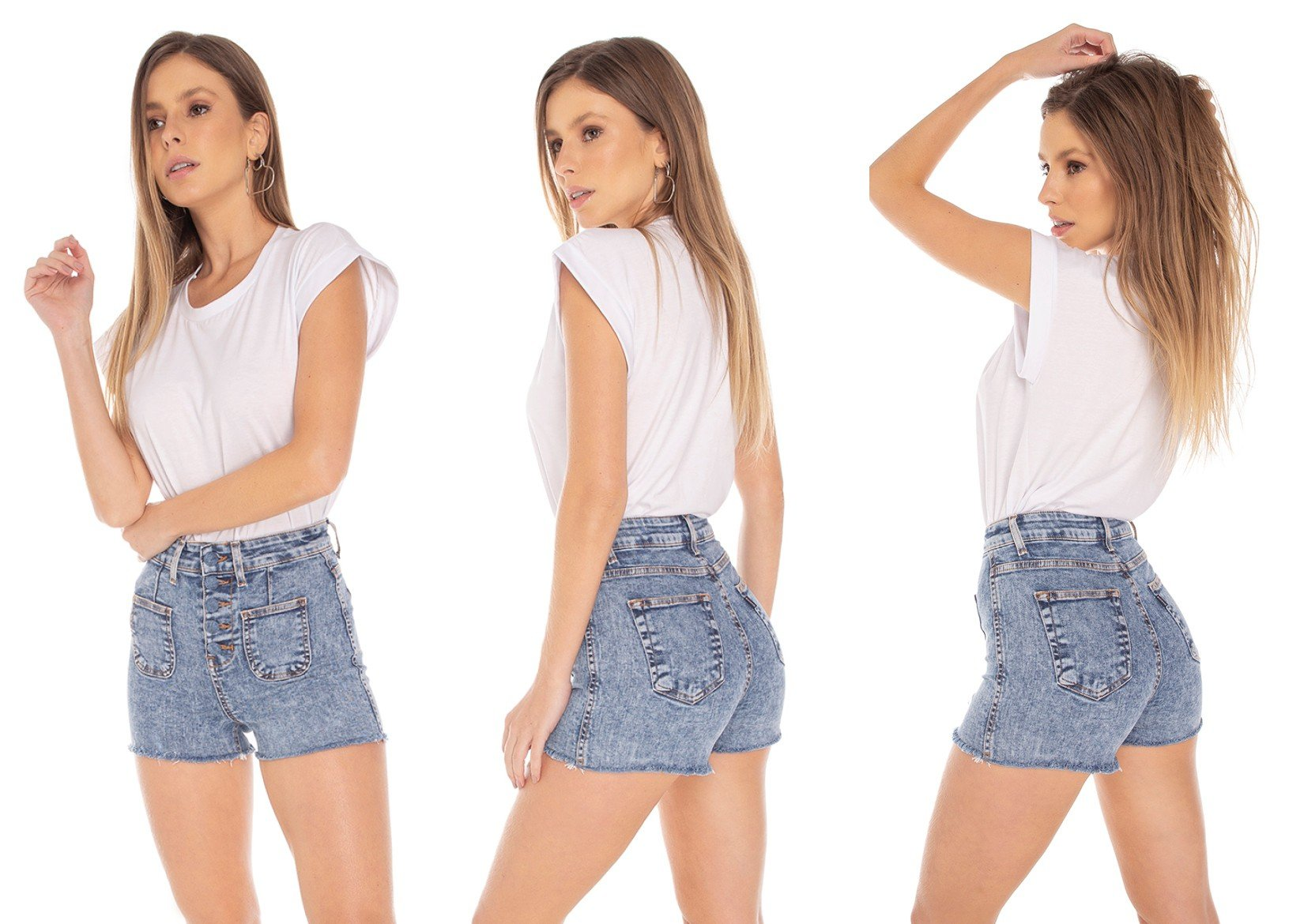 dz6394 shorts jeans feminino pin up botoes encapados denim zero tripla