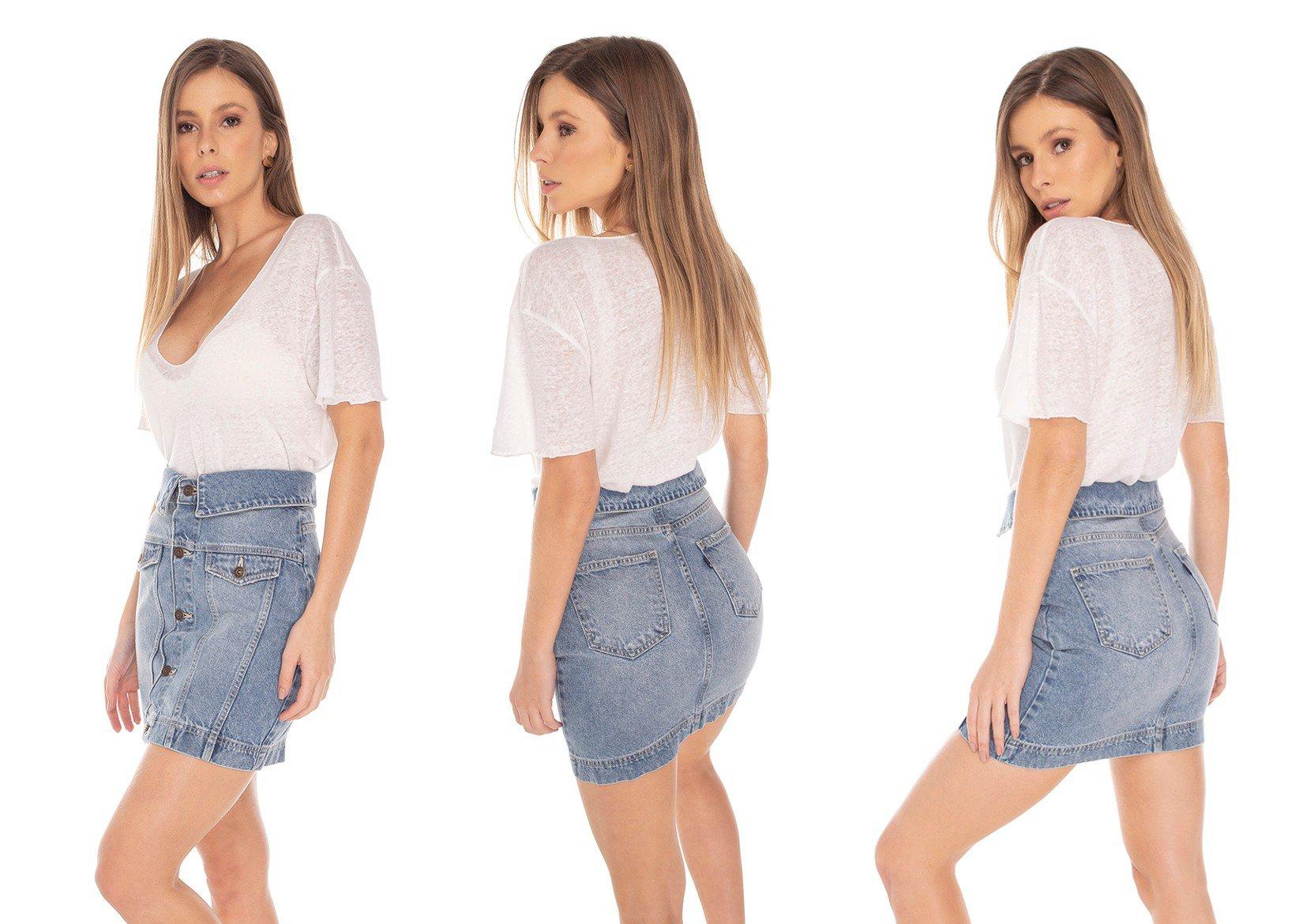 dz7148 saia jeans feminina regular cos diferenciado denim zero tripla