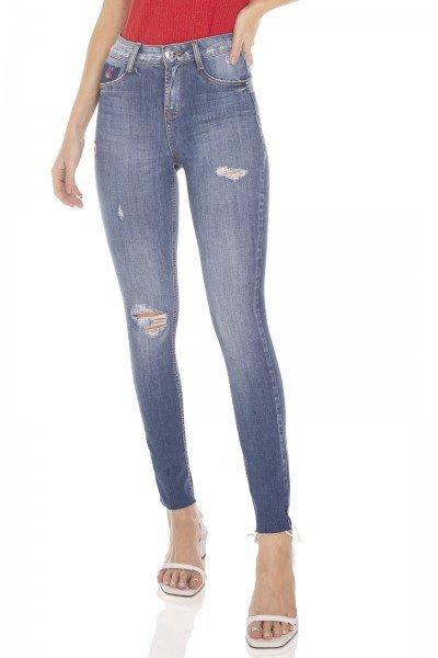 dz3475 calca jeans feminina skinny media cigarrete barra corte a fio denim zero frente prox