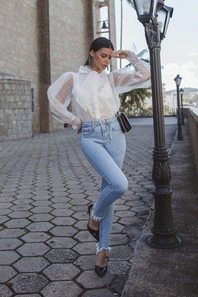 dz3377 calca jeans feminina skinny media cigarrete com cinto denim zero frente