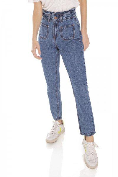 dz3481 calca jeans feminina mom bolsinhos frontais denim zero frente prox