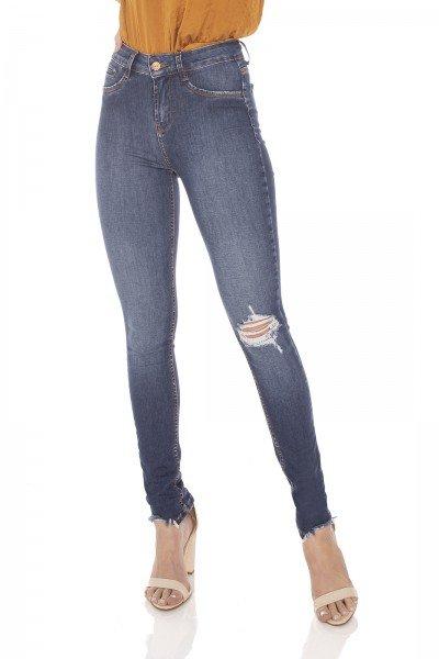 dz3085 calca jeans feminina skinny media barra irregular denim zero frente prox