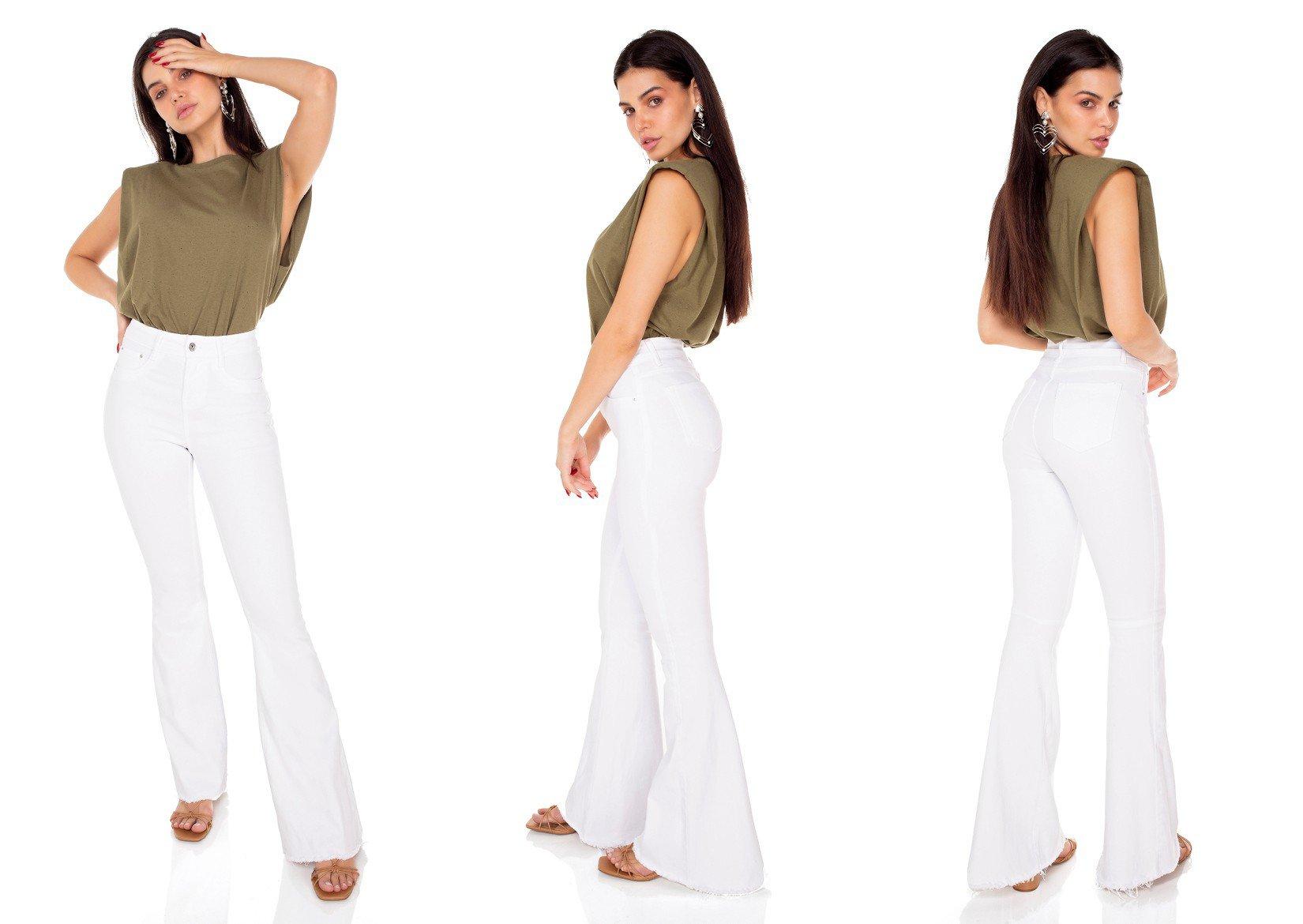 dz3555 calca jeans feminina flare black and white branca denim zero tripla