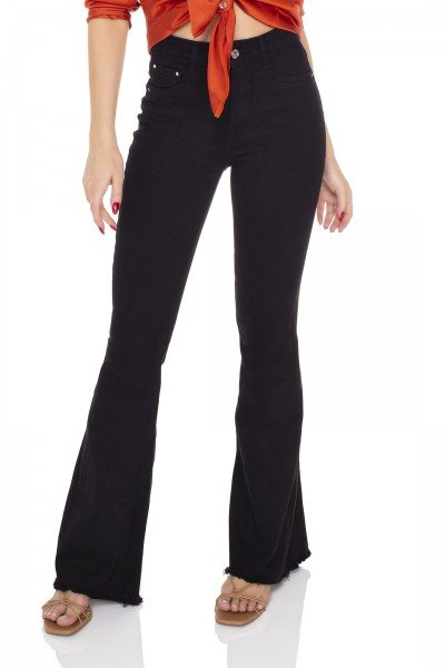 dz3555 calca jeans feminina flare black and white preta denim zero frente prox