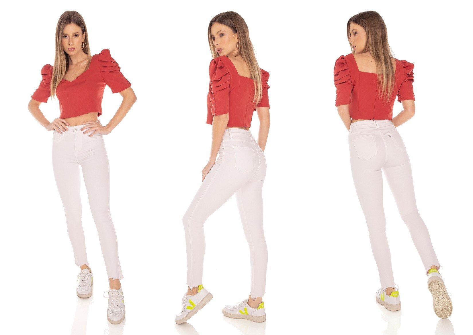 dz3554 calca jeans feminina skinny hot pants colorida nude denim zero tripla