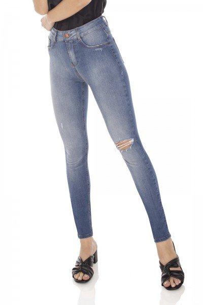 dz3142 calca jeans feminina skinny media cigarrete rasgo no joelho denim zero frente prox