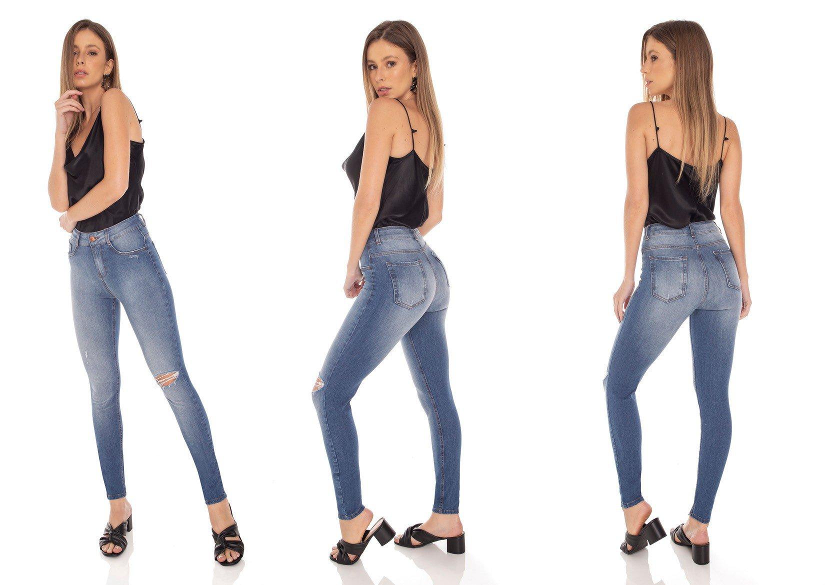 dz3142 calca jeans feminina skinny media cigarrete rasgo no joelho denim zero tripla