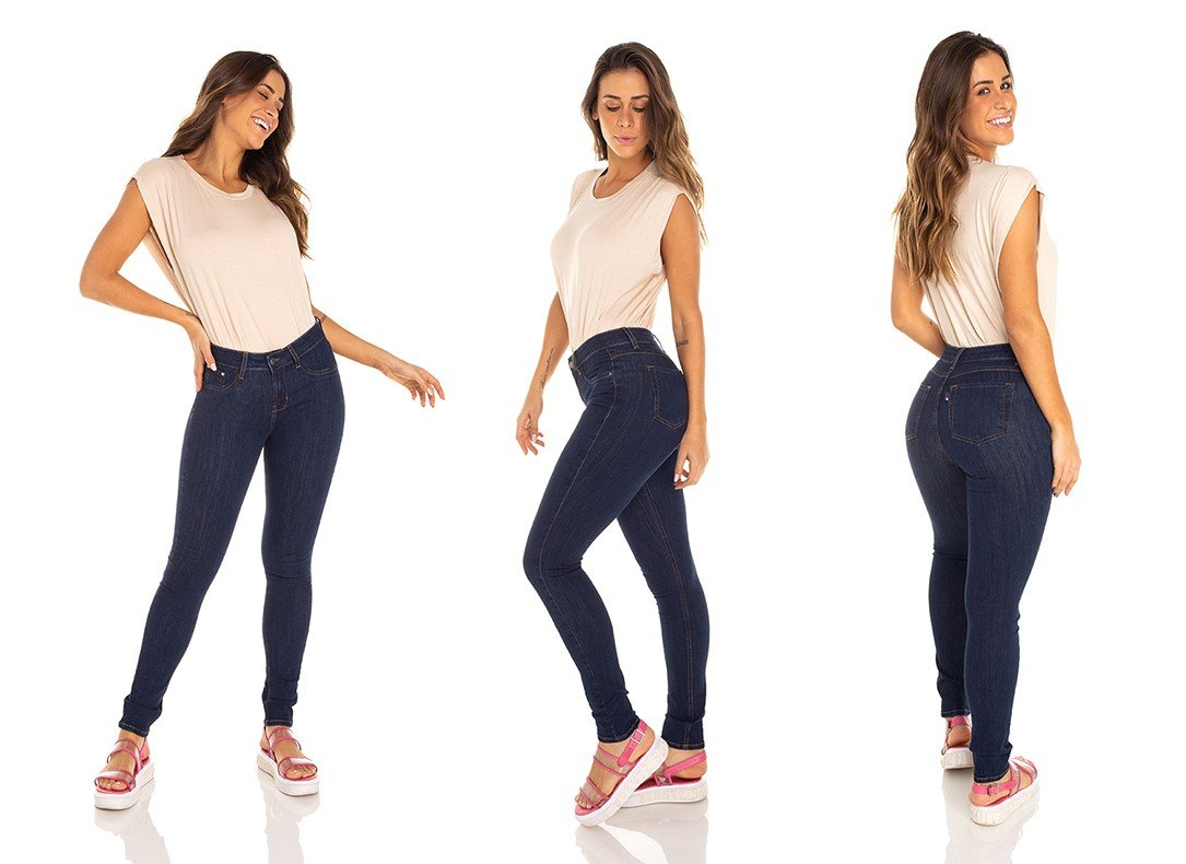 dz3347 calca jeans feminina skinny media escura denim zero tripla