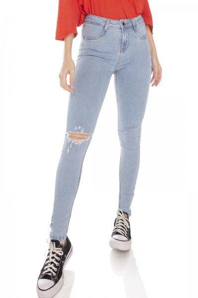 dz3216 calca jeans feminina skinny media rasgo no joelho denim zero frente prox