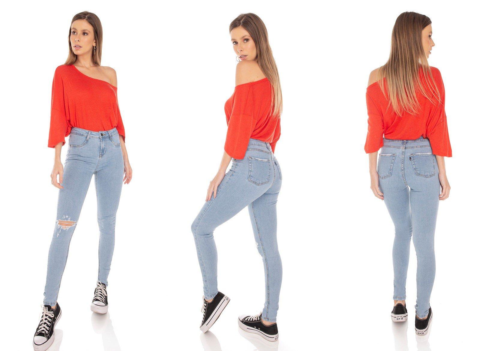 dz3216 calca jeans feminina skinny media rasgo no joelho denim zero tripla