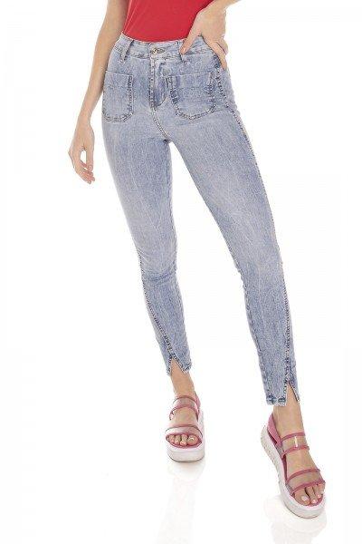 dz3507 calca jeans feminina skinny media cigarrete recorte na barra denim zero frente prox
