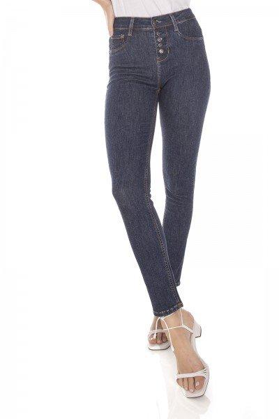 dz3435 calca jeans feminina skinny media cigarrete fechamento com botoes denim zero frente prox