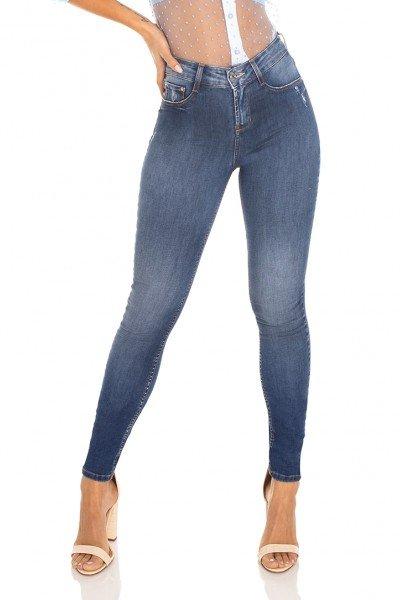 dz3472 calca jeans feminina skinny media cigarrete tradicional denim zero frente prox