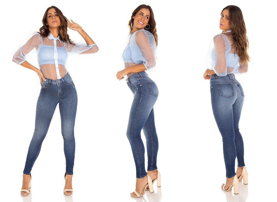 dz3472 calca jeans feminina skinny media cigarrete tradicional denim zero tripla