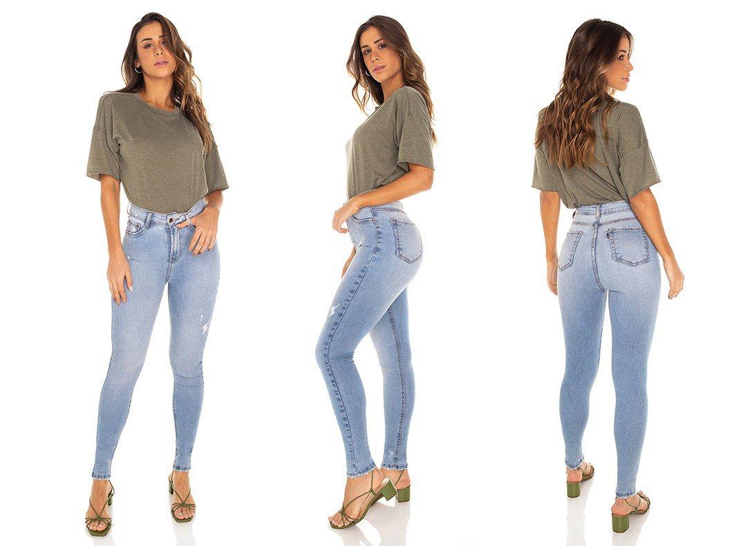 dz3488 calca jeans feminina skinny hot pants cigarrete com puidos denim zero tripla