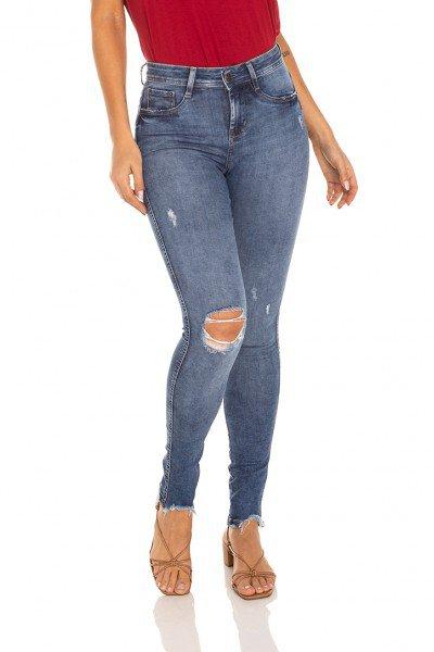 dz3498 calca jeans feminina skinny media rasgo joelho denim zero frente prox