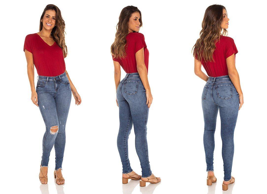dz3498 calca jeans feminina skinny media rasgo joelho denim zero tripla