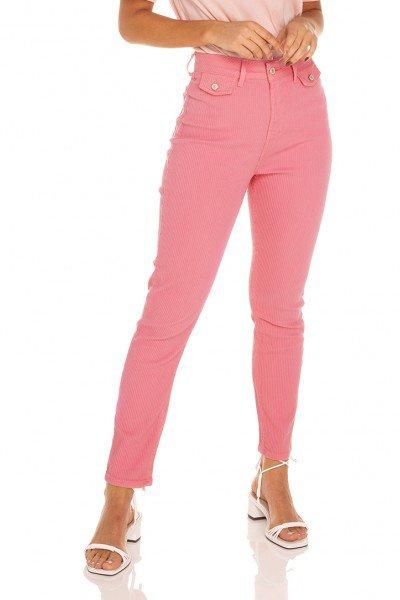dz3541 calca jeans feminina mom fit bolsinhos frontais denim zero frente prox