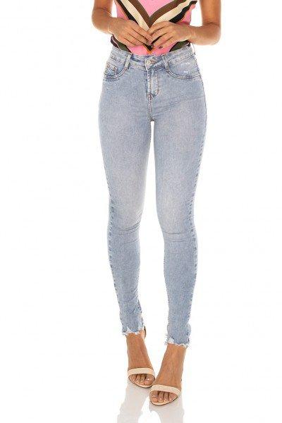 dz3568 calca jeans feminina skinny media barra desfiada denim zero frente prox