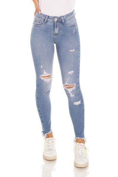 dz3569 calca jeans feminina skinny media cigarrete com puidos denim zero frente prox