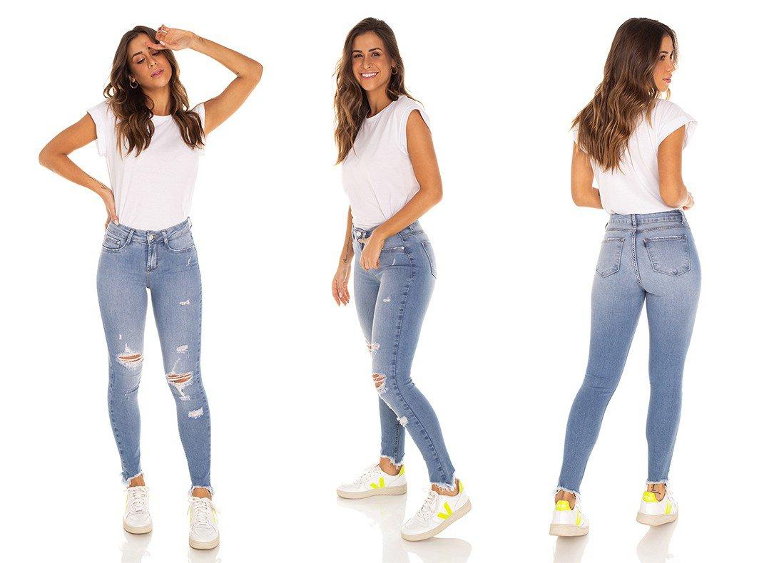 dz3569 calca jeans feminina skinny media cigarrete com puidos denim zero tripla