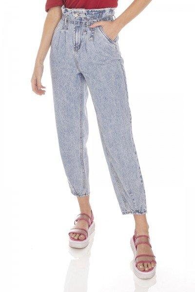 dz3512 calca jeans feminina balloon com cinto denim zero frente prox