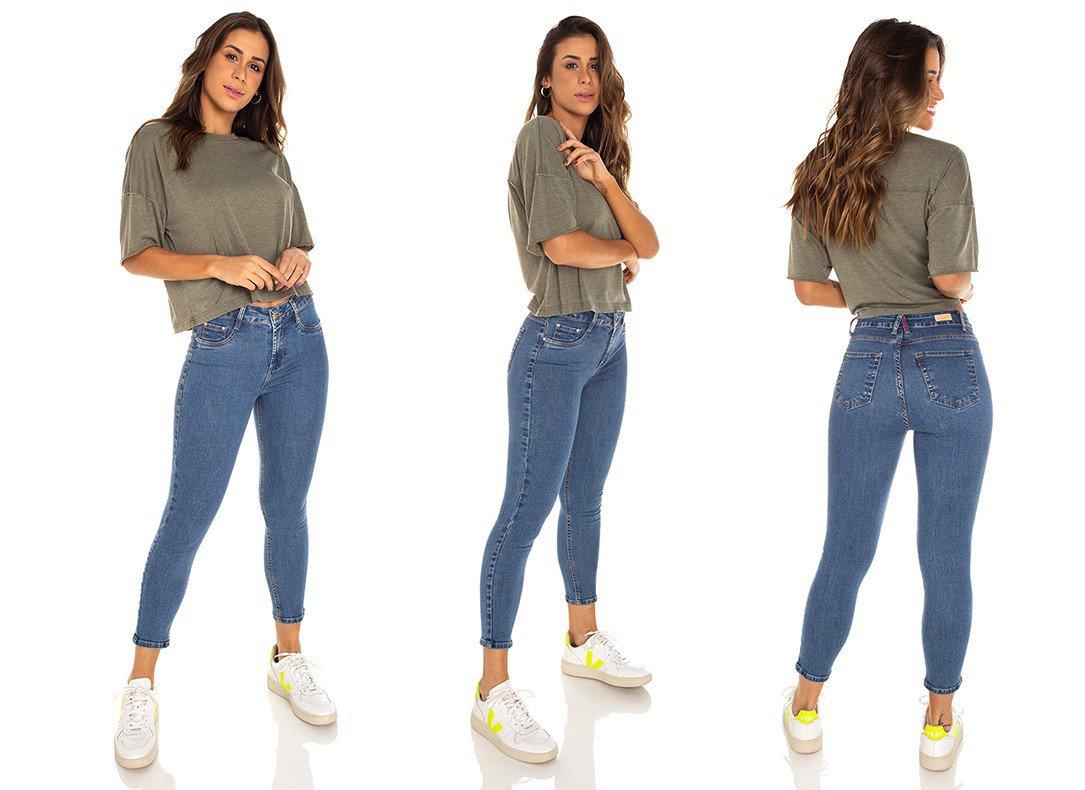 dz3536 calca jeans feminina skinny media cropped denim zero tripla