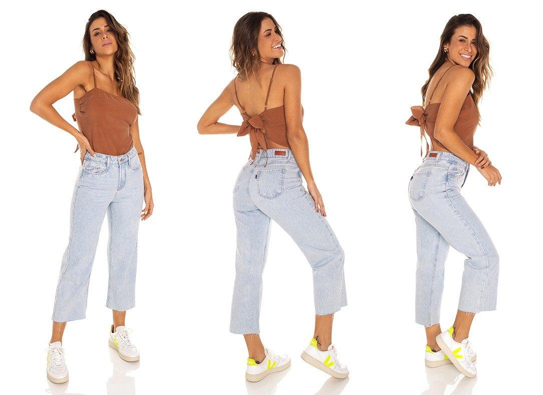 dz3542 calca jeans feminina wide leg barra corte a fio denim zero tripla