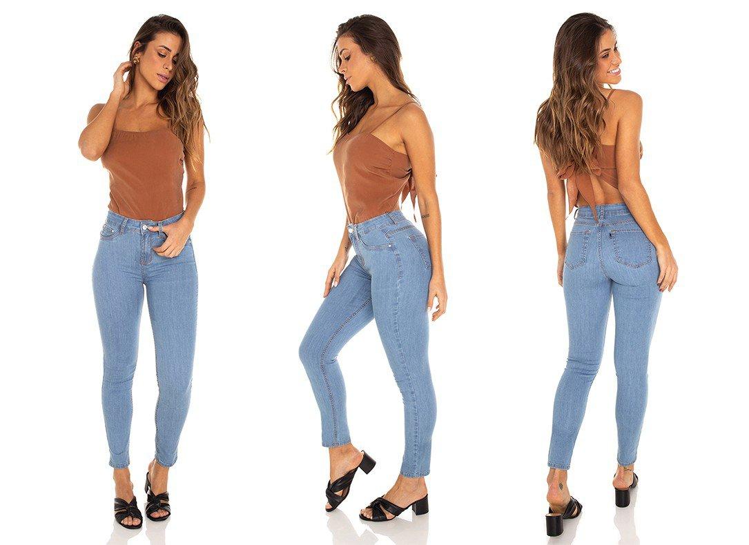 dz3571 calca jeans feminina skinny media cigarrete tradicional denim zero tripla