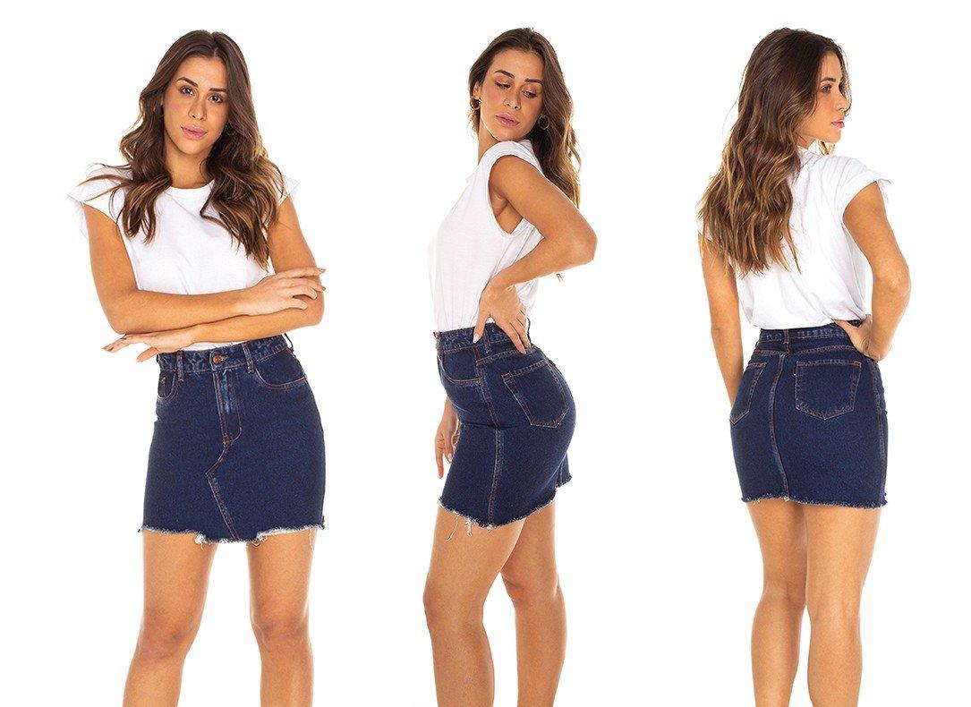 dz7159 saia jeans feminina regular recorte frontal denim zero tripla
