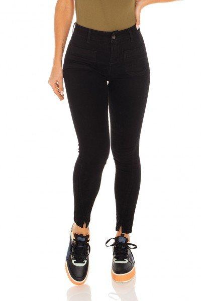 dz3441 calca jeans feminina skinny media cigarrete fenda na barra denim zero frente prox