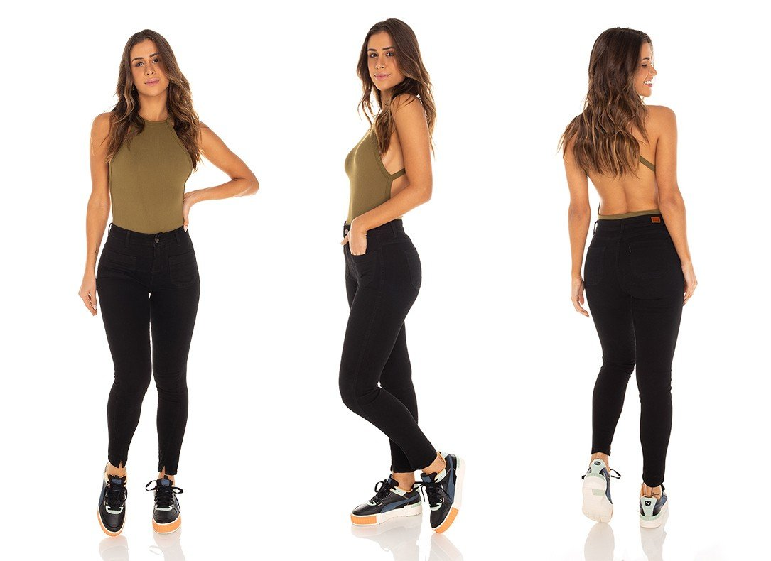 dz3441 calca jeans feminina skinny media cigarrete fenda na barra denim zero tripla