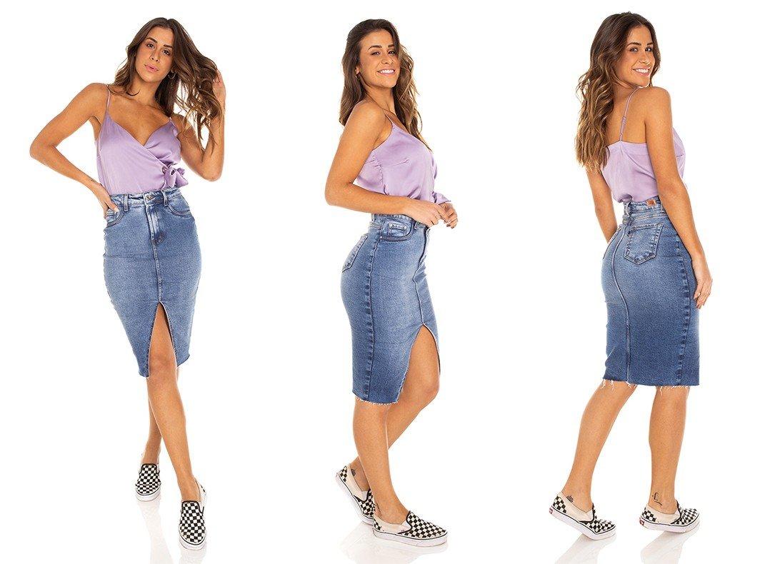 dz7176 saia jeans feminina lapis barra corte a fio denim zero tripla