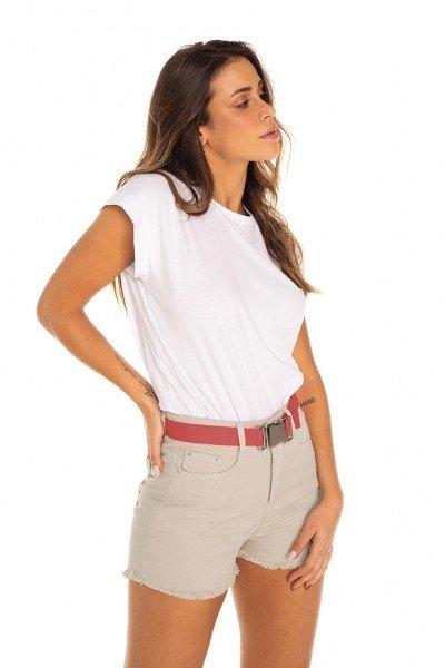 dz6430 shorts jeans feminino setentinha com cinto colorido areia militar denim zero frente prox