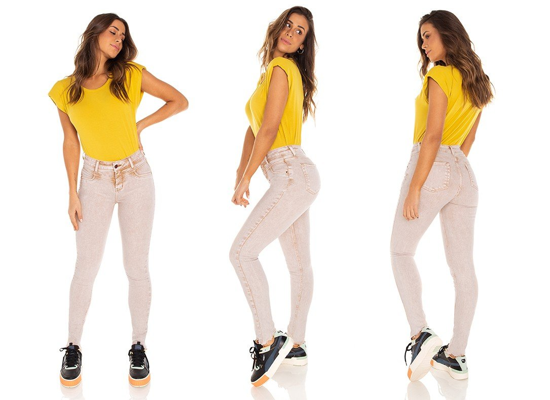 dz3496 calca jeans feminina skinny media recorte frontal denim zero tripla