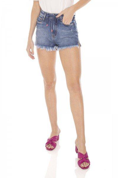 dz6398 shorts jeans feminino setentinha com cordao decorativo denim zero frente prox