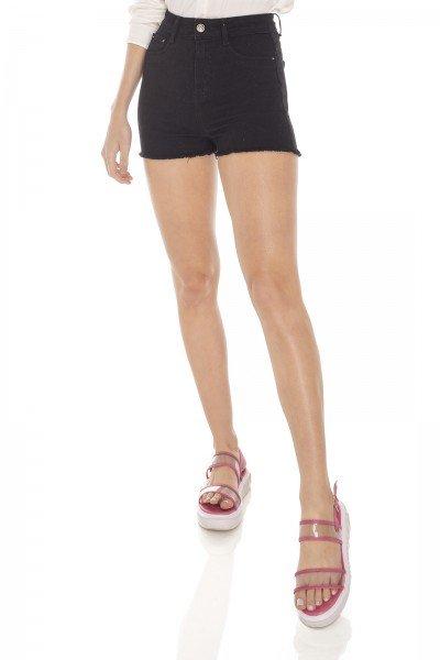dz6327 shorts jeans feminino pin up black and white preto denim zero frente prox