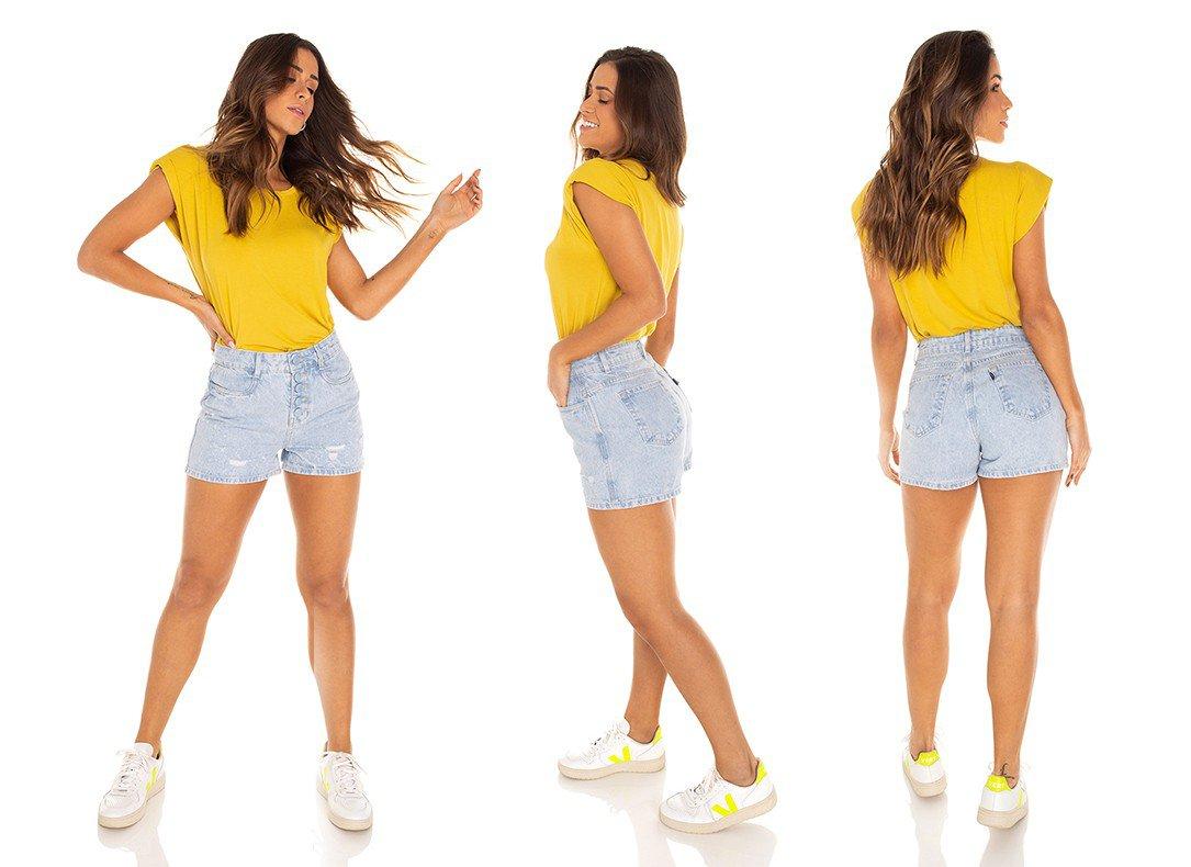 dz6411 shorts jeans feminino mom botoes encapados denim zero tripla