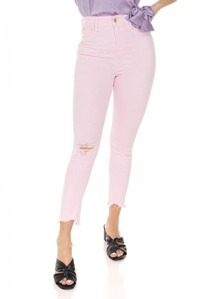 dz3521 calca jeans feminina skinny hot pants cropped colorida rosa clarinho denim zero frente prox