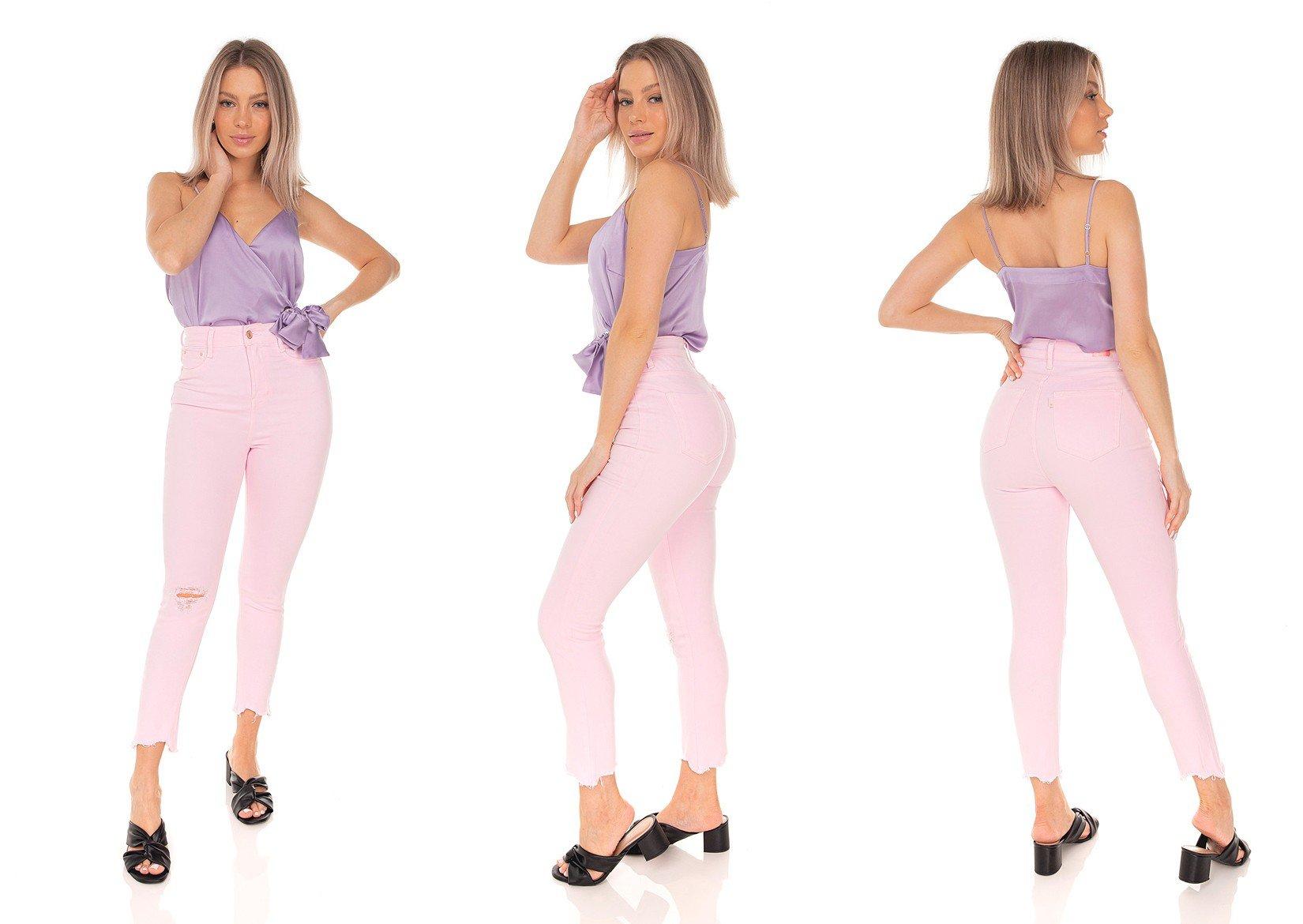 dz3521 calca jeans feminina skinny hot pants cropped colorida rosa clarinho denim zero tripla