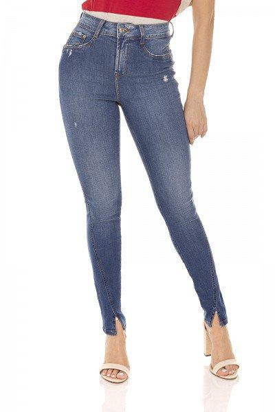 dz3582 calca jeans feminina skinny media cigarrete fenda frontal denim zero frente prox