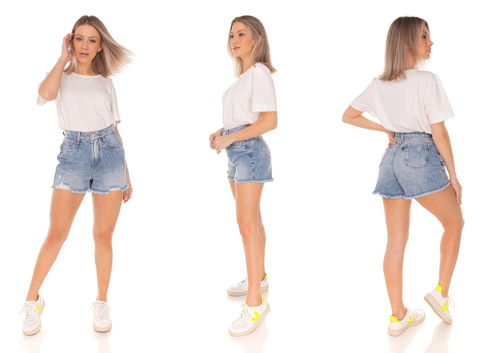 dz6425 shorts jeans feminino mom barra desfiada denim zero tripla