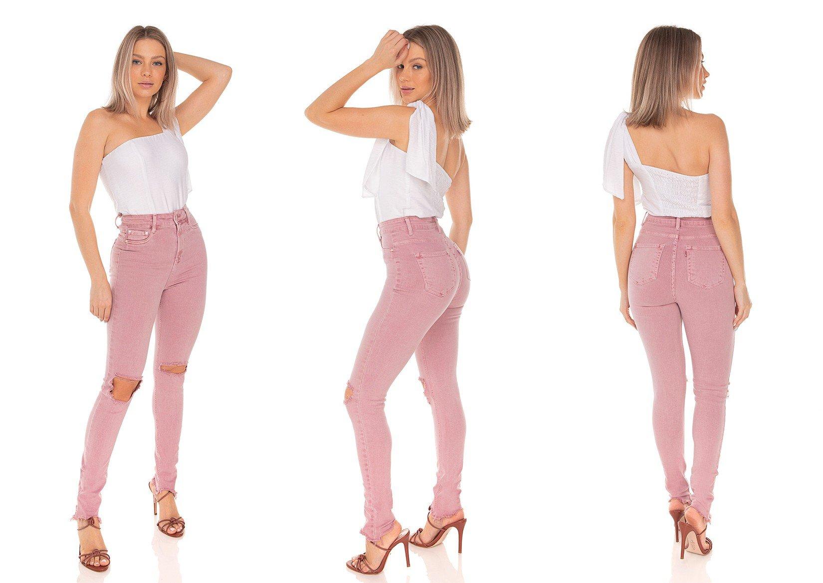 dz3573 calca jeans feminina skinny hot pants colorida rose vintage denim zero tripla