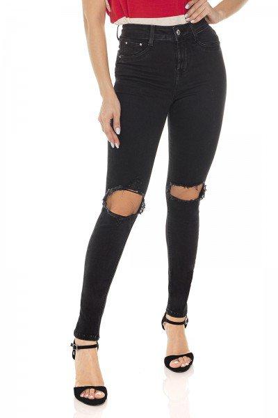 dz3434 calca jeans feminina skinny media cigarrete black and white preto denim zero frente prox