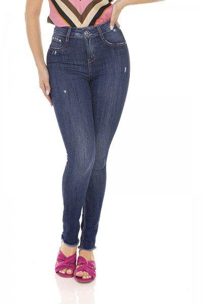 dz3502 calca jeans feminina skinny media cigarrete com puidos denim zero frente prox