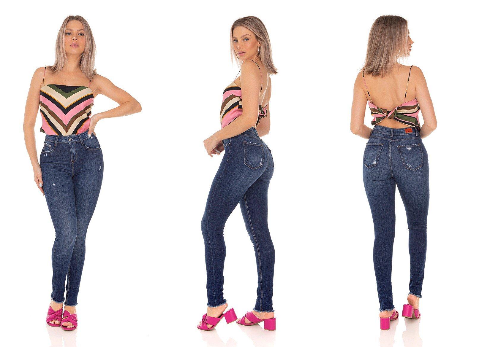 dz3502 calca jeans feminina skinny media cigarrete com puidos denim zero tripla