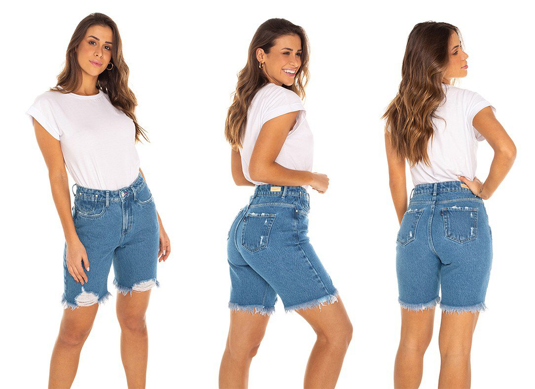 dz4039 bermuda jeans feminina mommy barra destroyed denim zero tripla