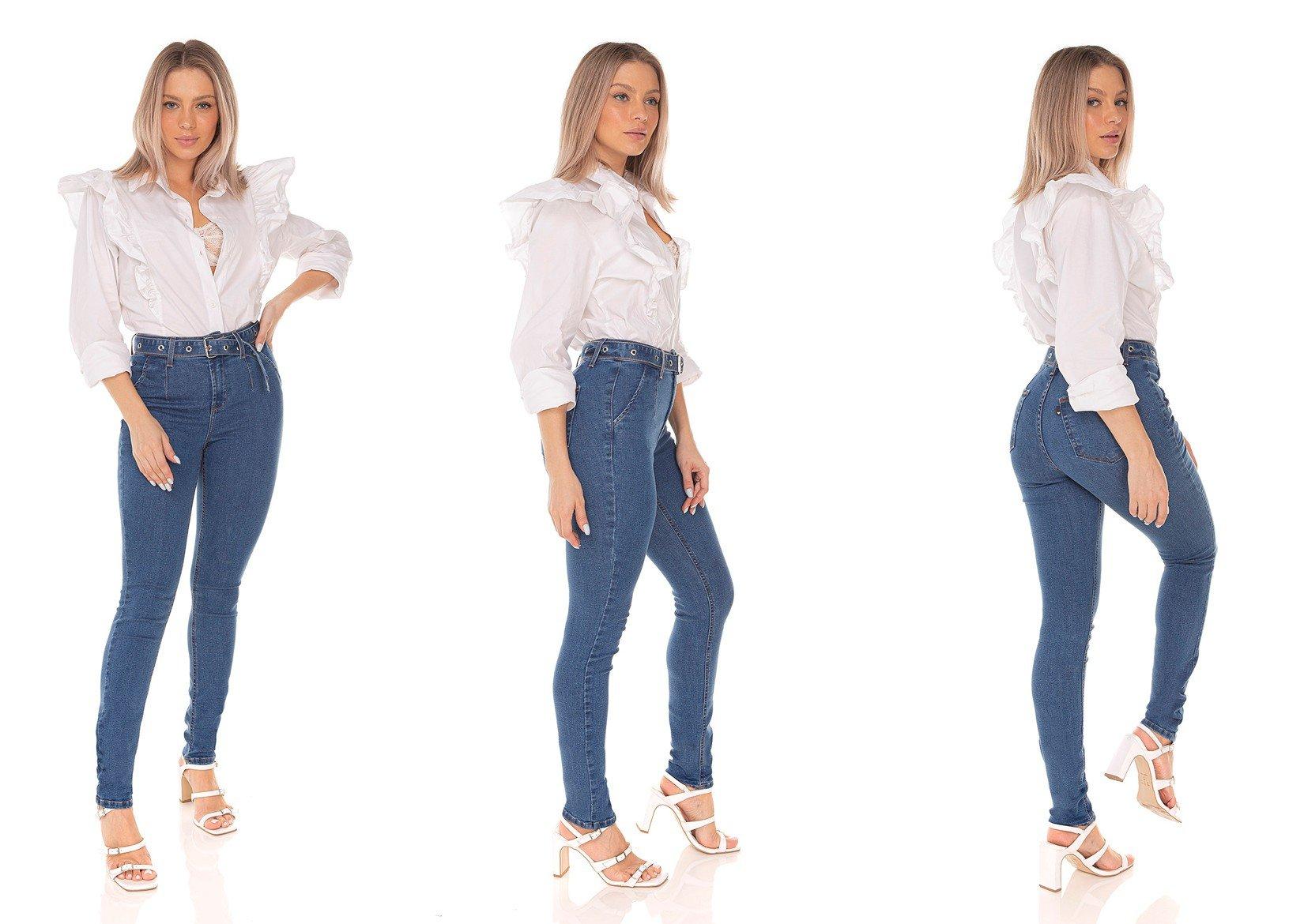 dz3580 calca jeans feminina skinny media com cinto denim zero tripla