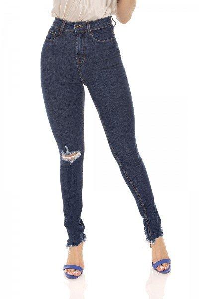 dz3585 calca jeans feminina skinny hot pants rasgo joelho denim zero frente prox